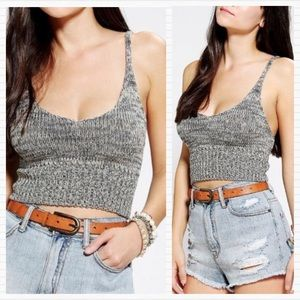 URBAN OUTFITTERS Gray Knit Sweater Crop Top